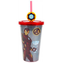 Copo com canudo 500ml - Iron Man